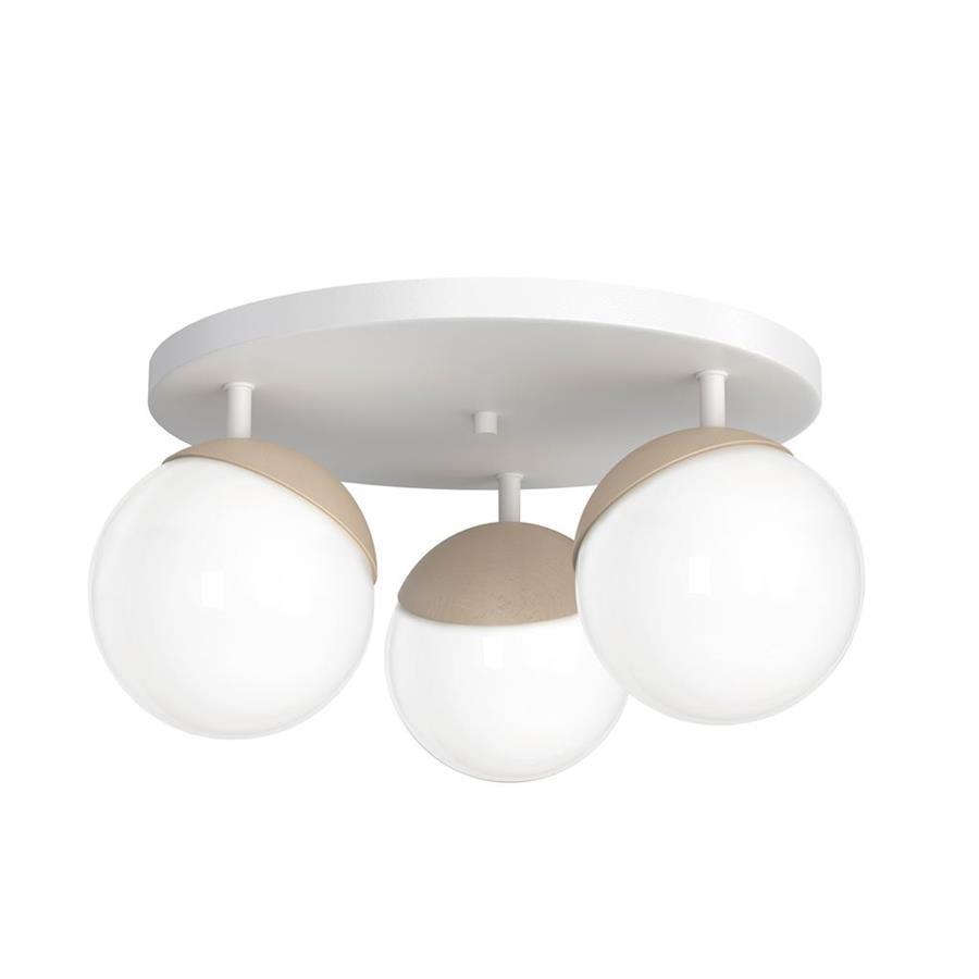 Lampa sufitowa nowoczesna szklana kula plafon SFERA WOOD III drewnobiały śr. 35cm